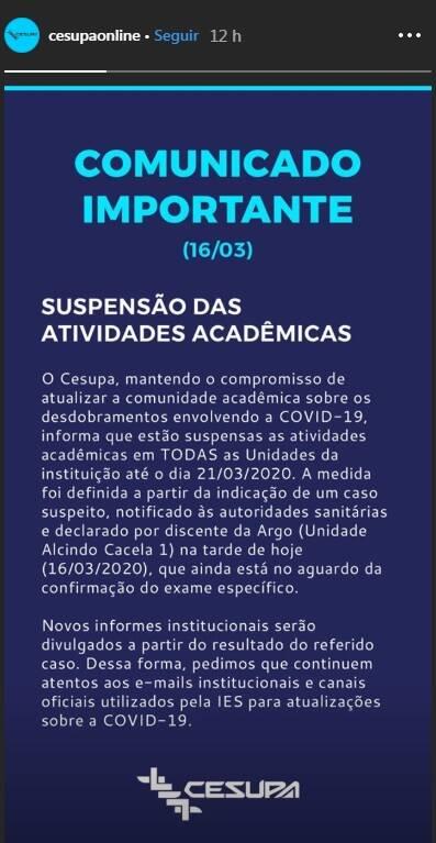 Universidades e faculdades suspendem aulas em todo o Pará