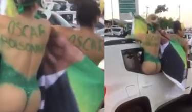 Vídeo: carro é flagrado desfilando com mulheres nuas em carreata de candidato a prefeito